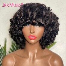 Fluffy Bouncy Curly Human Hair Wigs with Bangs Glueless Peruvian Remy Funmi Curls Short Bob Full Mac