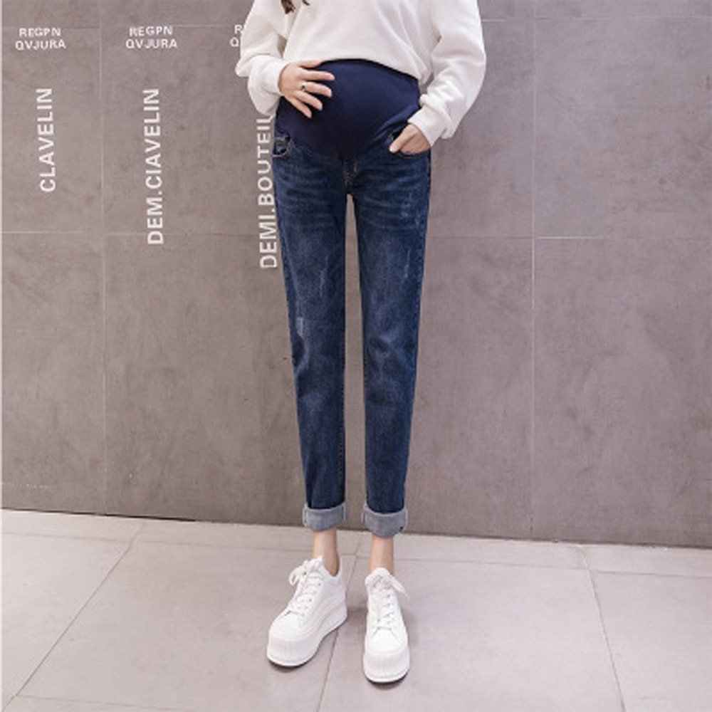 New Autumn winter Length pant Keep warm Denim Maternity Jeans Fashion Trousers Clothes for Pregnant Women Pregnancy Pants enlarge