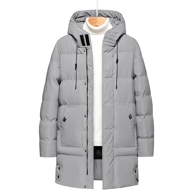 Мужская зимняя теплая Толстая длинная однотонная парка, пальто, Мужская водонепроницаемая парка с капюшоном, куртка, Мужская Осенняя Модна...
