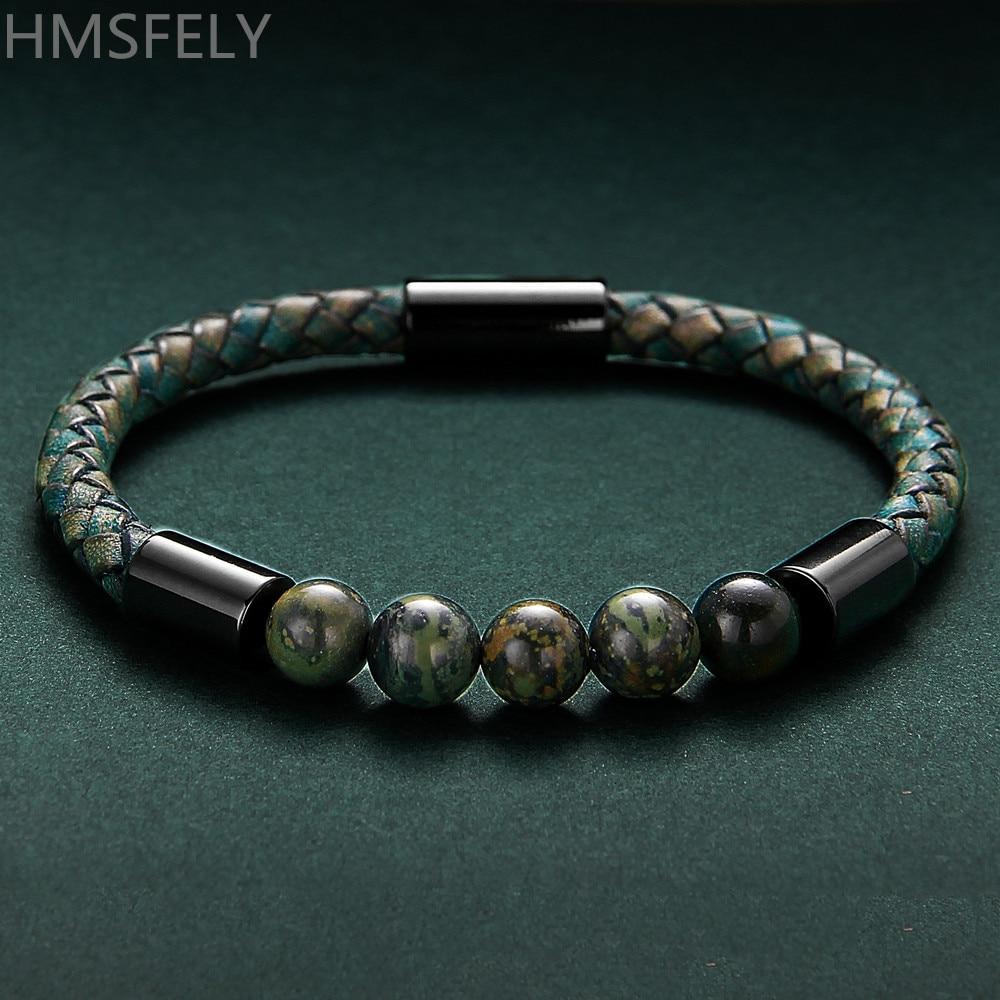 HMSFELY Retro Style Dark Green Men Genuine Leather Bracelet Natural Ore Stone Beaded Magnetic Clasp Rope Bracelets For Men Women