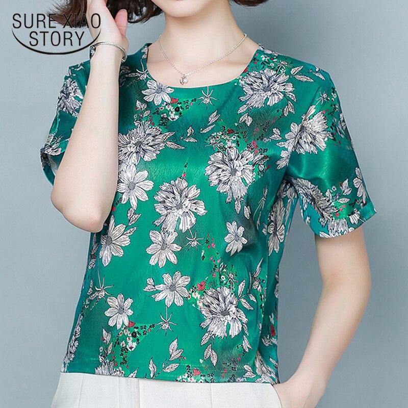 2020 Nieuwe Vintage Losse Vrouwen Tops O Kraag Plus Size Zomer Blouse Vrouwen Casual Zijde Bloemen Korte Mouwen Vrouwen Shirt 9066 50