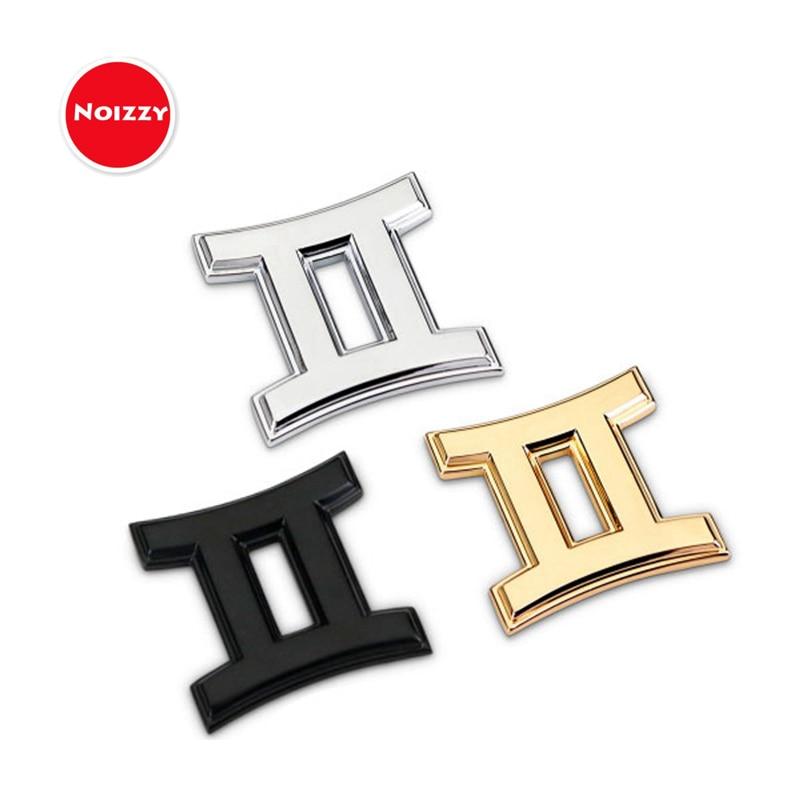 Noizzy-signe du zodiaque   Logo de Constellation, symbole Gemini de voiture, emblème de voiture, autocollant de moto, autocollant de voiture, noir chromé or