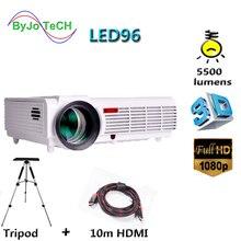 Poner Saund LED 96 projecteur LED 5500 Lumen projecteur Full HD 1080P avec 10m HDMI trépied USB VGA AV 3D Proyector LCD Vs bt96 m5