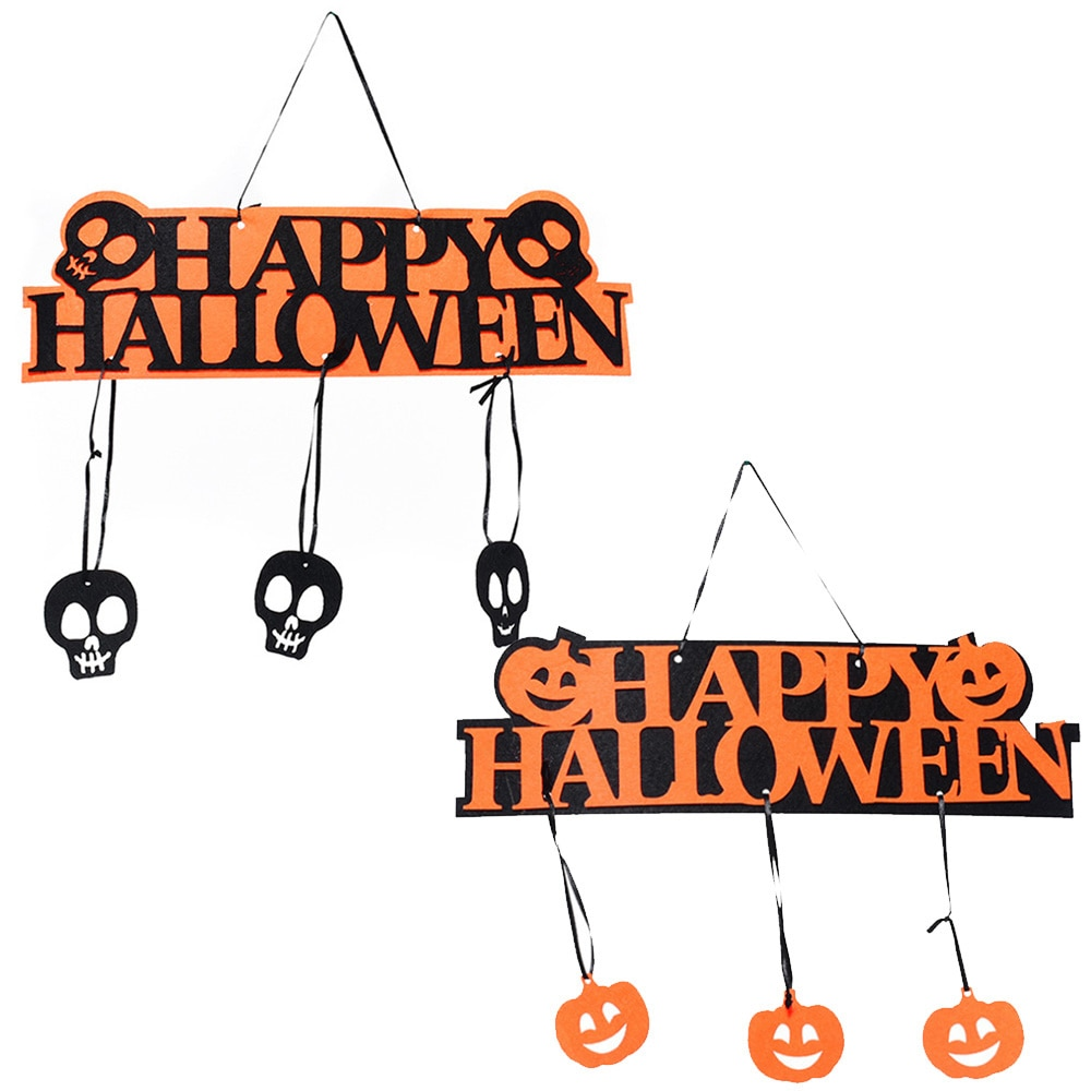 Halloween Party Decoration HAPPY HALLOWEEN Hanging Hangtag Bar Shop Window Door Decor Pumpkin Strips Halloween Props halloween cartoon doll pumpkin witch cat party ideal decoration for club bar shop home showcase bar table shelf holiday decor
