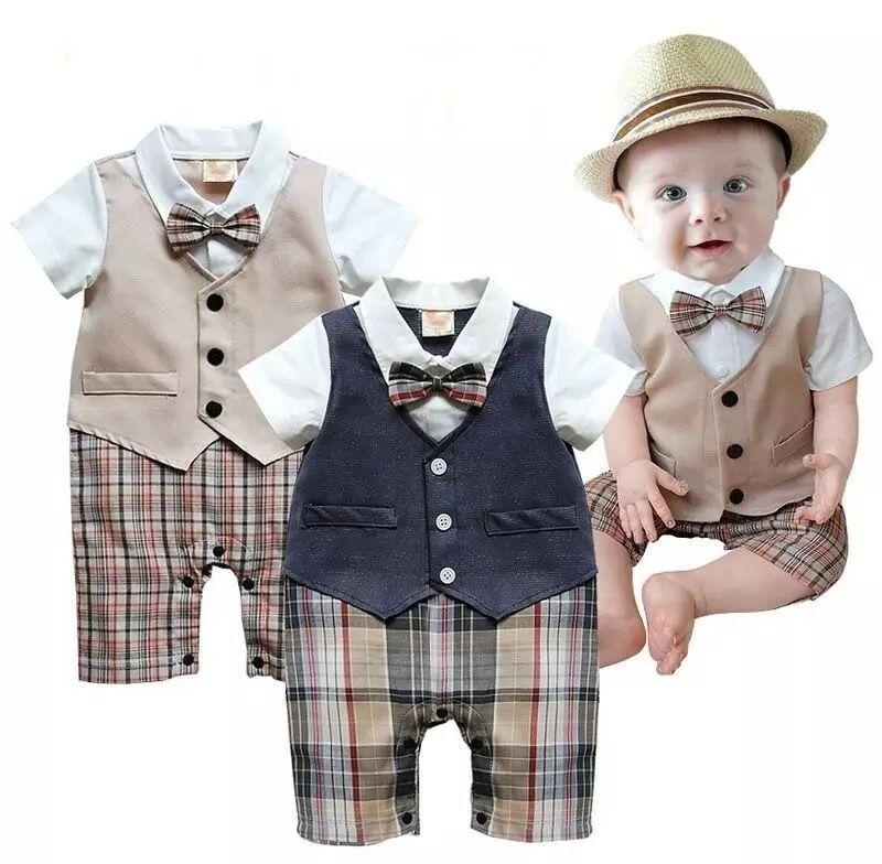Recién Nacido chico bebé set de ropa para niños pequeños niños Caballero Plaid mono