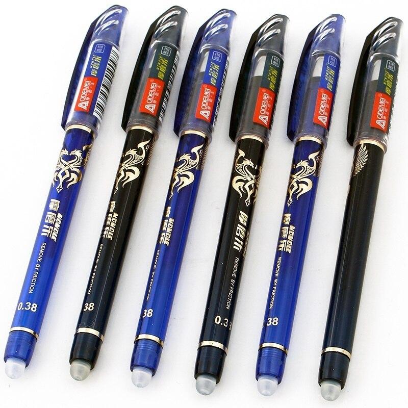 Pluma borrable mágica de 0,38mm, 12 Uds., plumas azules y negras para estudiantes, papelería de oficina, pluma para escribir