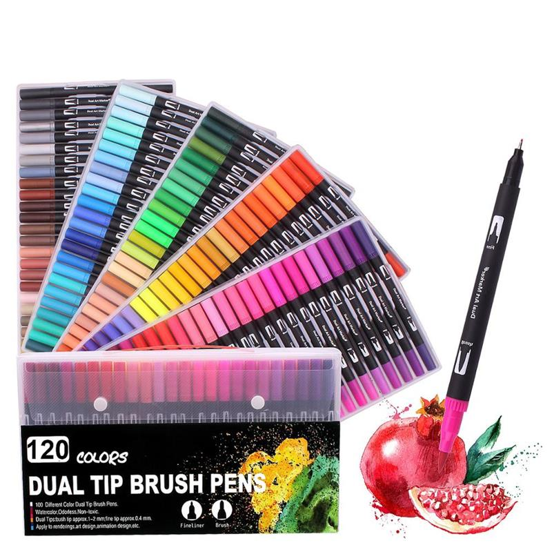 120 Colors Art Coloring Markers Set Dual Tips Brush Fineliner Color Marker Pens, Water Based Marker for Calligraphy Drawing Pen