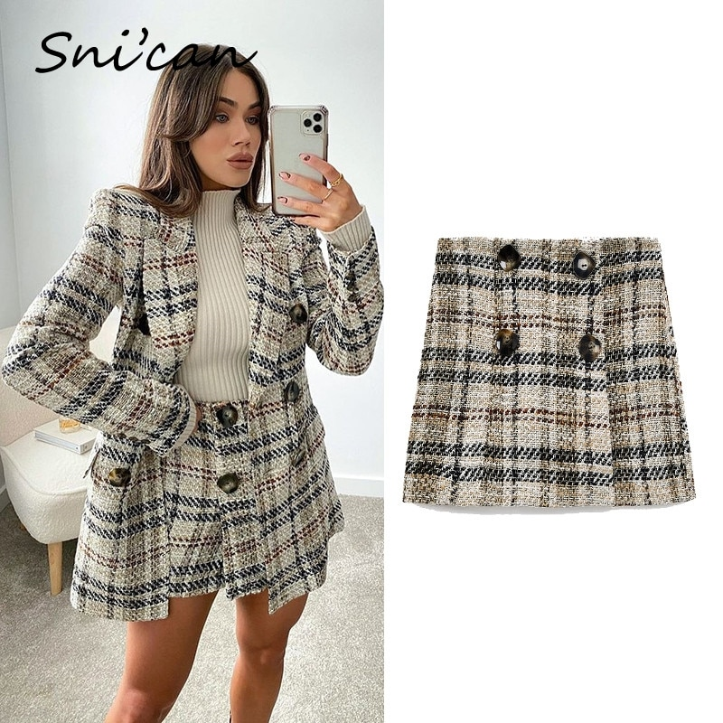 Snican Spring High Waist Tweed Plaid Shorts High With Buttons Casual Office Ladies Suit Shorts Pantalon Femme Za 2021 Spring New