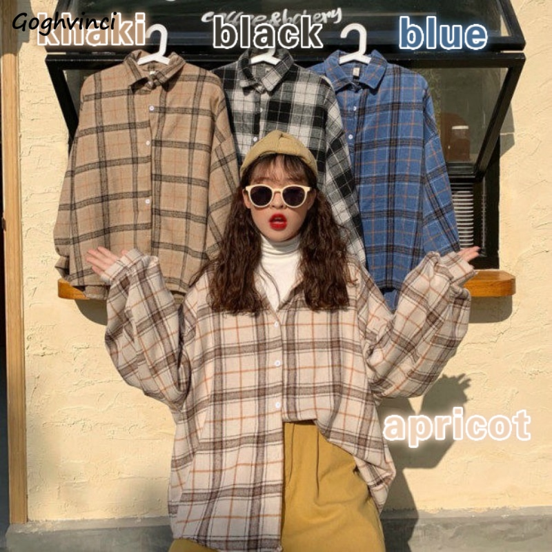 Women Blouses Turn-down Collar Spring Shirts Plaid All-match BF Batwing-sleeve Loose Outwear Harajuku Female 4 Colors Chic New