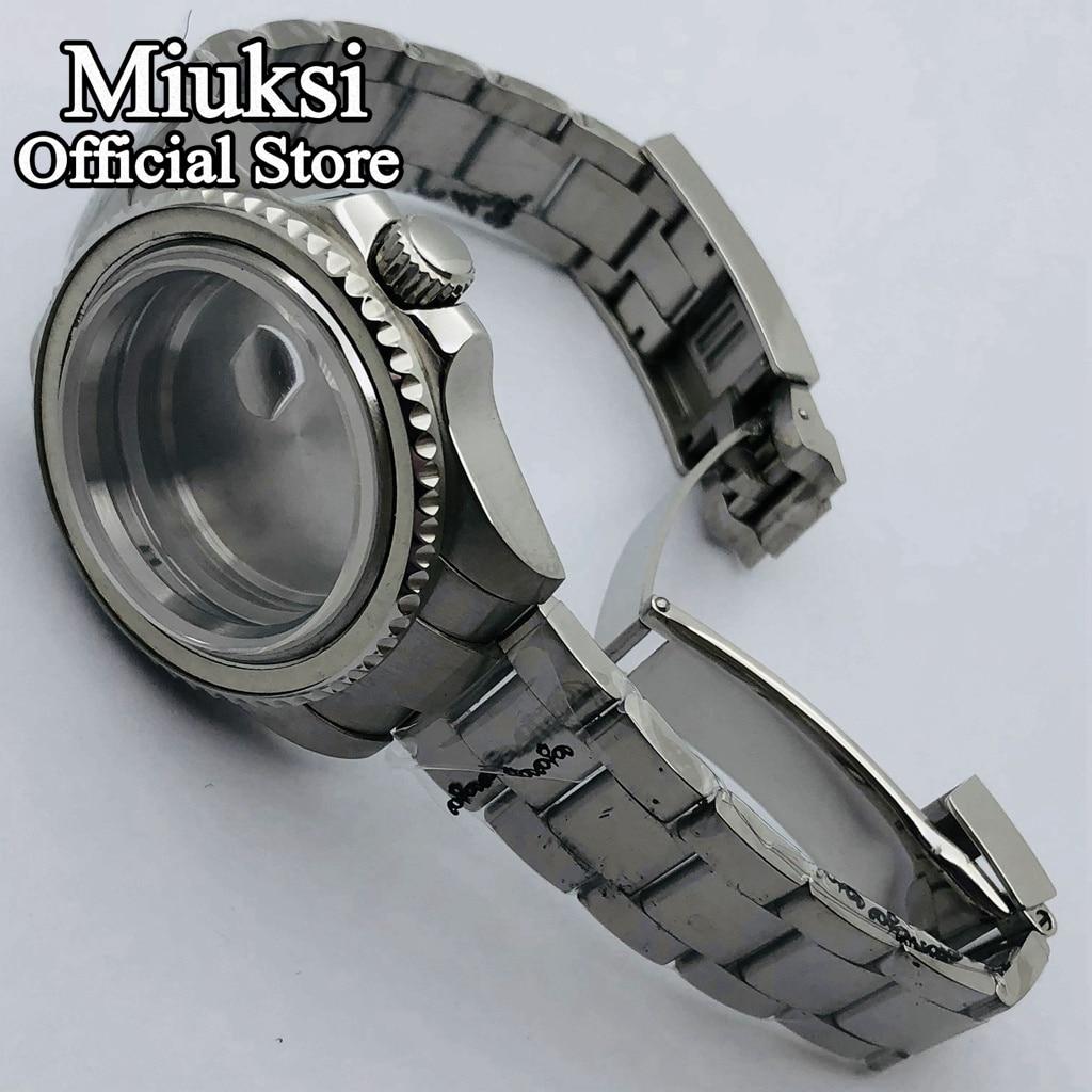 Miuksi 40mm sapphire glass silver case oyster bracelet fit NH35 NH36 ETA 2836 Mingzhu DG2813 3804 Miyota 8205 8215 821A movement enlarge