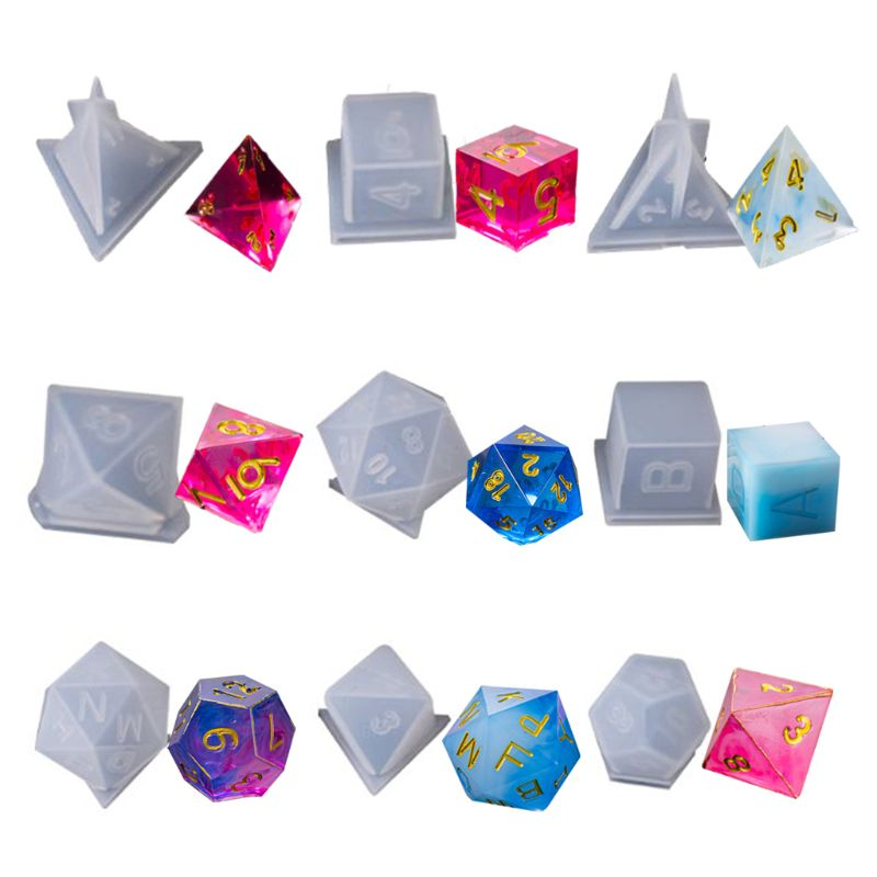 9 Shapes Dice Fillet Square Triangle Dice Mold Dice Digital Game Silicone Mould XXFD
