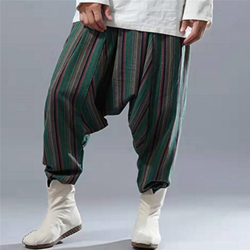 2020 novos homens de linho calças largas festival hip hop boho cross-pants streetwear plus size calças largas perna do vintage calças casuais