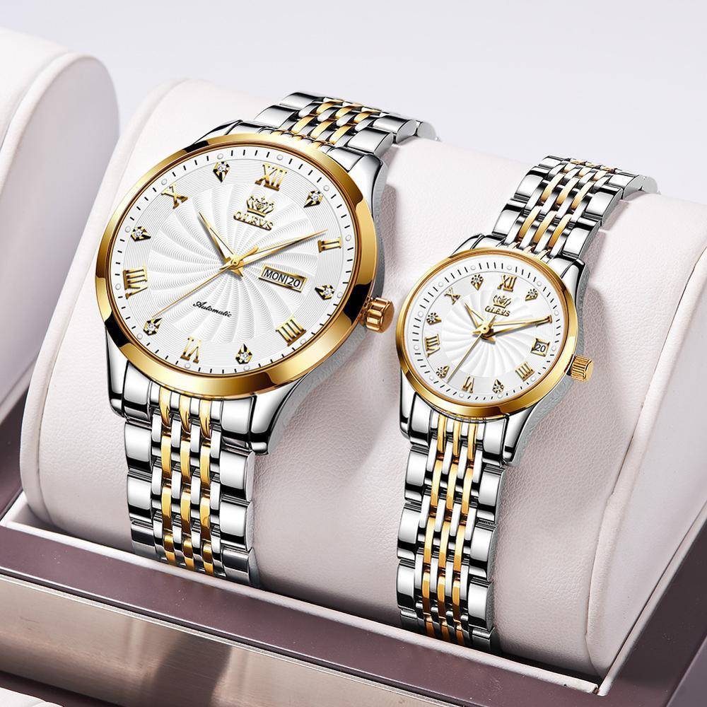 Brand original automatic mechanical movement luminous waterproof men and women luxury watch birthday couple friend gift