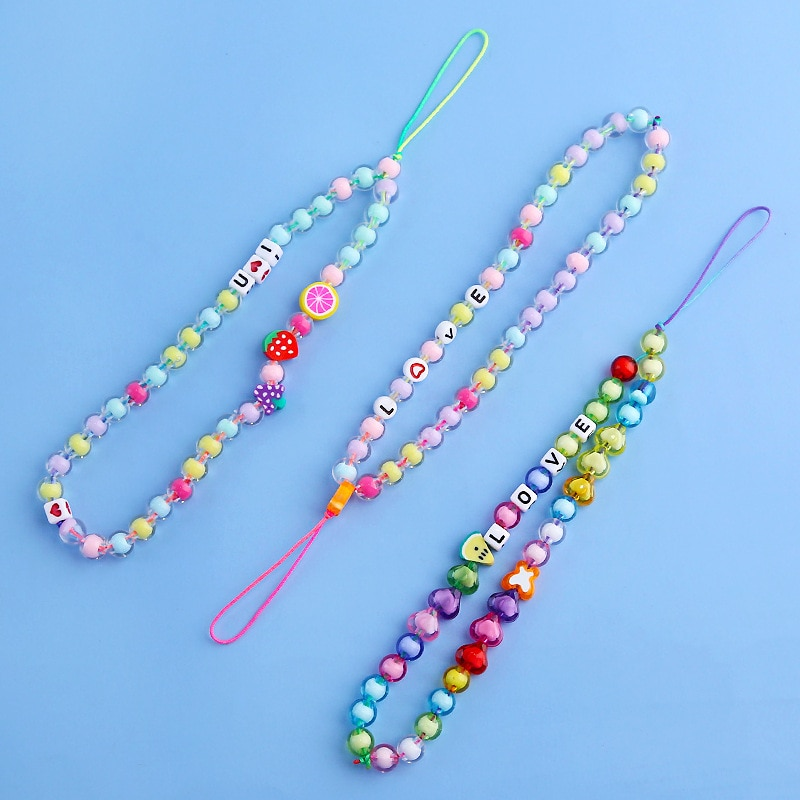 European and American Popular New Color Plastic Letter Beads Fruit Heart-shaped Beaded Mobile Phone Lanyard