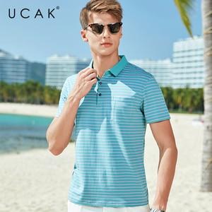 UCAK Brand Classic Turn-down Collar Striped T-Shirt Men Clothes Summer New Fashion Style Streetwear Casual Cotton Tee Tops U5587