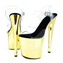 Leecabe New designs 20cm Golden Color pole dance sandals lady shoe high heel platform shoes
