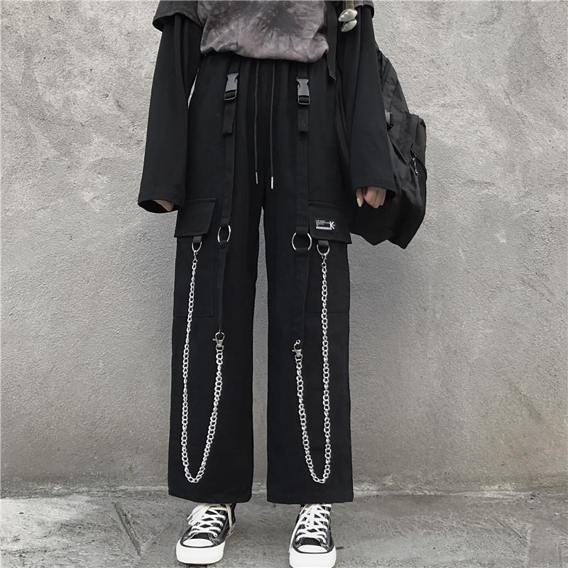 AliExpress - Black Cargo Pants Men Streetwear Cotton Hip hop Pants With Chain Loose Baggy Vintage Punk Harem Trousers Elastic waist Emo Pants