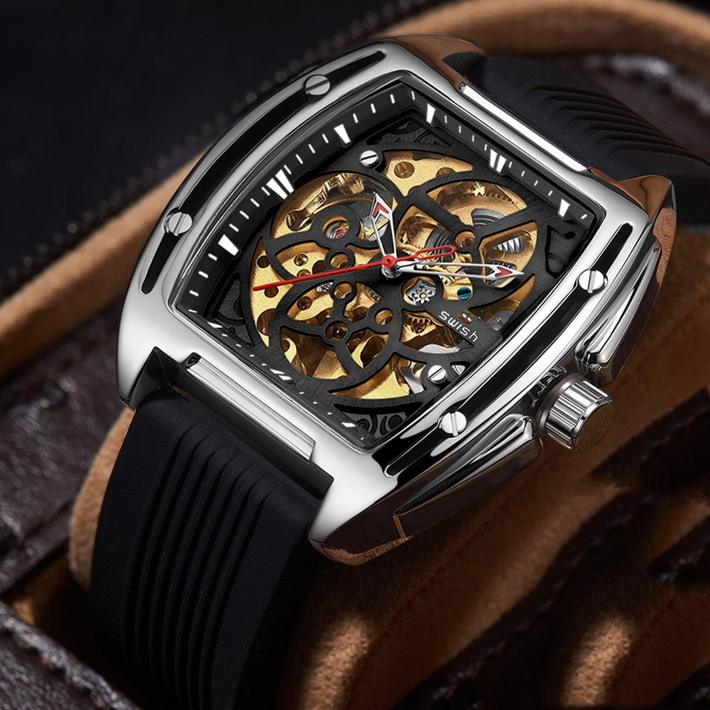 Multifunctional leisure automatic hollow out bottom explosion type silicone band mechanical watch men's watch enlarge