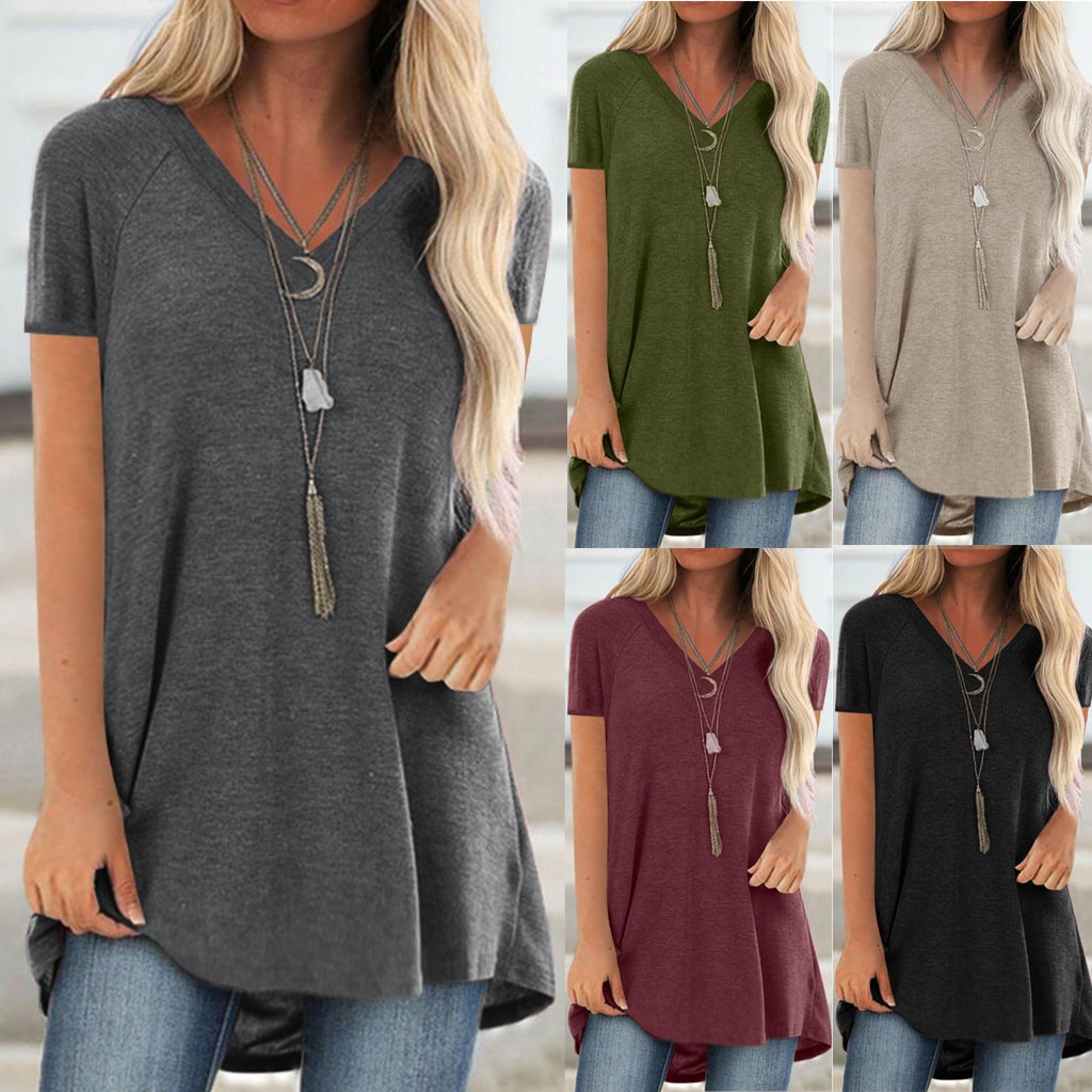 tops women 2021 Women Fashion Plus Size Print V Neck Short Sleeved Long T-shirt Blouse mujer camisetas 10% off for 2 items