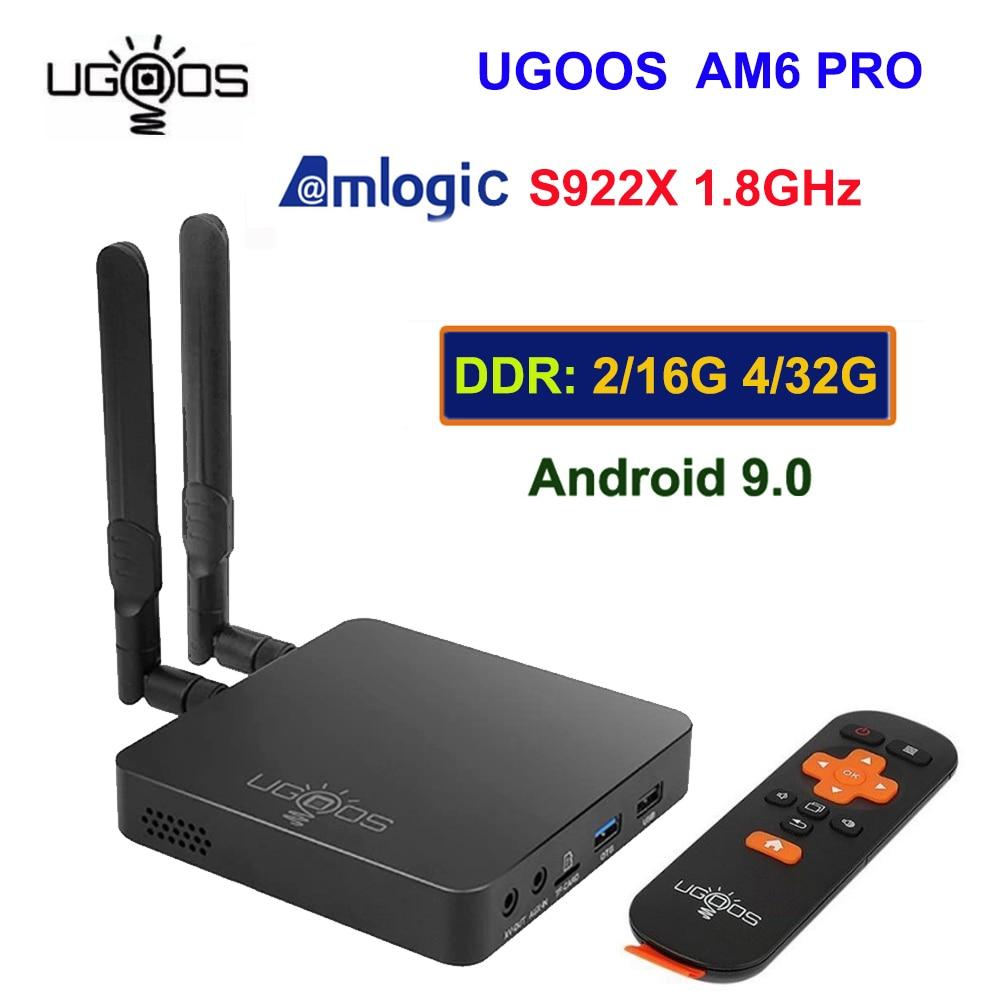 UGOOS AM6 Pro caja de TV Android 9,0 Amlogic S922X 4GB / 32GB 2,4G 5G Dual WiFi BT 5,0 4K HD Media Player control remoto por voz
