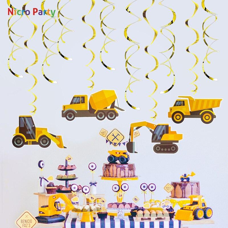 Nicro PVC amarillo excavadora camión tema niños cumpleaños fiesta ornamentos en espiral DIY remolino decoraciones suministros # Tas45
