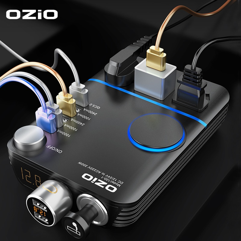 Инвертор автомобильного прикуривателя, 200 Вт, 12 В постоянного тока в 220 В переменного тока, конвертер, адаптер зарядного устройства, трансфор...