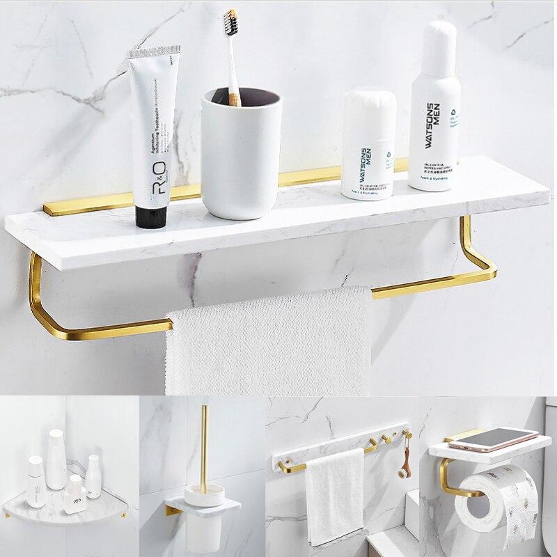 Набор аксессуаров для ванной комнаты, Золотая полка из матового материала, вешалка для полотенец, держатель для бумаги, держатель для туалетных щеток, мрамор и латунь
