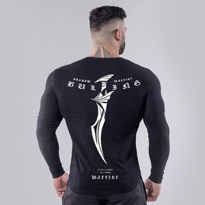 Men Bodybuilding Long Sleeve T-shirt Workout Printed Slim Fit Gym Male Pullover Tight Muscle Shirts Tops