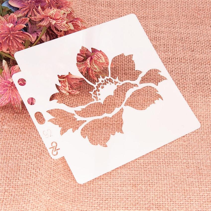 13*14 flower Cover templat scrapbook stencils spray plastic mold shield DIY cake hollow Embellishment printing lace ruler