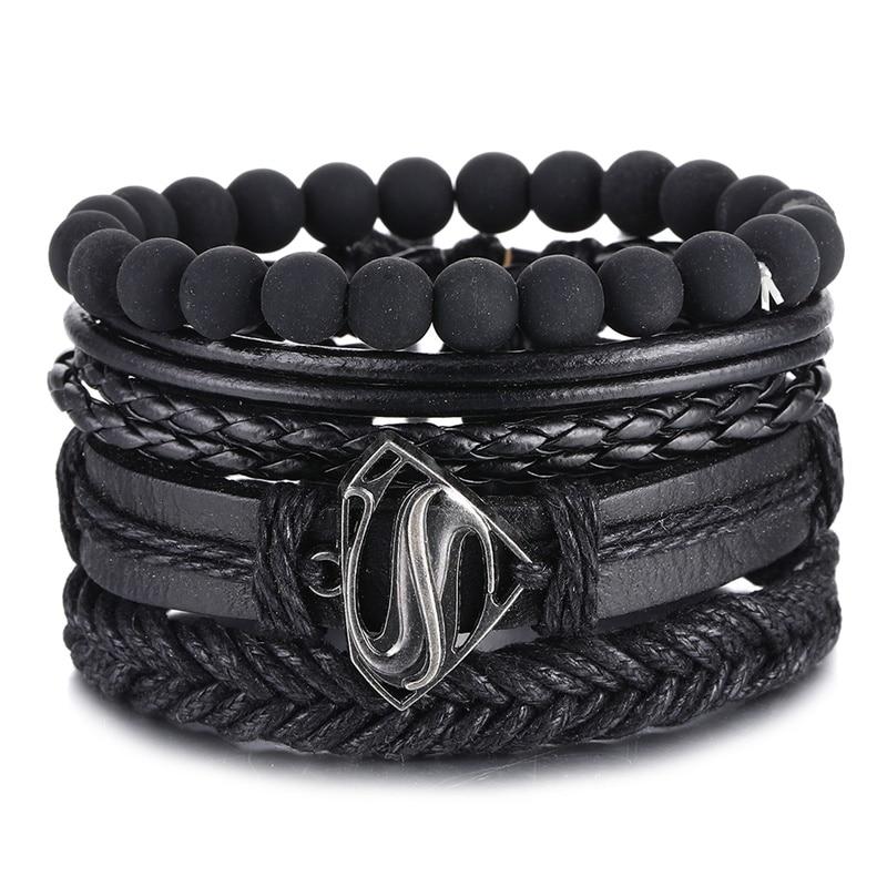 IFMIA Vintage Black Bead Bracelets For Men Fashion Hollow Triangle Leather Bracelet & Bangles Multil