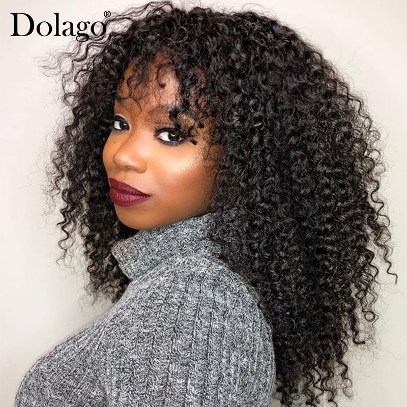 Deep Curly 360 Lace Frontal Wig With Bangs 250 Density Brazilian 13x4 Lace Front Human Hair Wigs Bob Cut Pre Plucked Dolago Remy