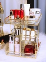 dressing table rotating cosmetic storage box transparent glass rack european rotating design style copper edging