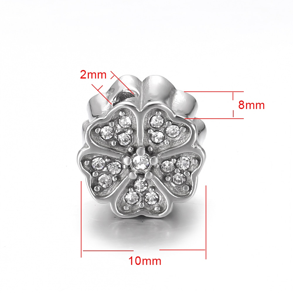 Stainless Steel Flower Bead White Zircon 2mm Spacer Beads Polished Metal Charms Accessories DIY Bracelet Jewelry Making