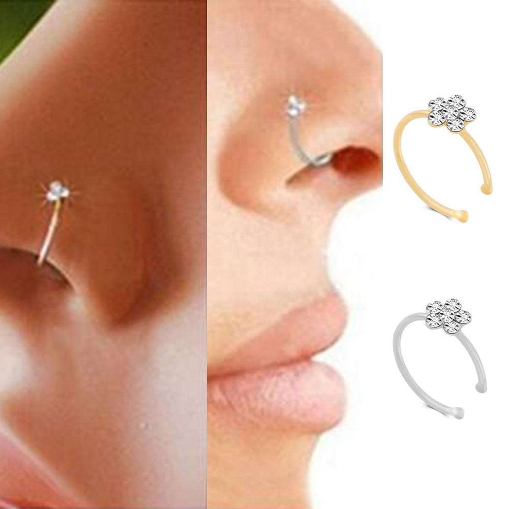 Кольца и гвоздики для имитации пирсинга носа, маленькие тонкие Стразы с кристаллами, цветок, носовой перегородки, Ювелирное Украшение для т...