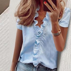 New Fashion Women's Blouses Summer Short Sleeves Lady Tops V-Neck Solid Office Lady Clothing Ruffles Casual Print Female Shirt
