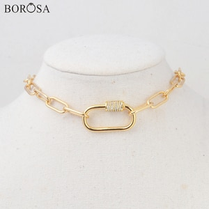 BOROSA New Metal Lock Necklace 15'' Gold/Silver Plated CZ Screw Clasp Lock Necklace for Women Micro Pave CZ Chokers HD0351