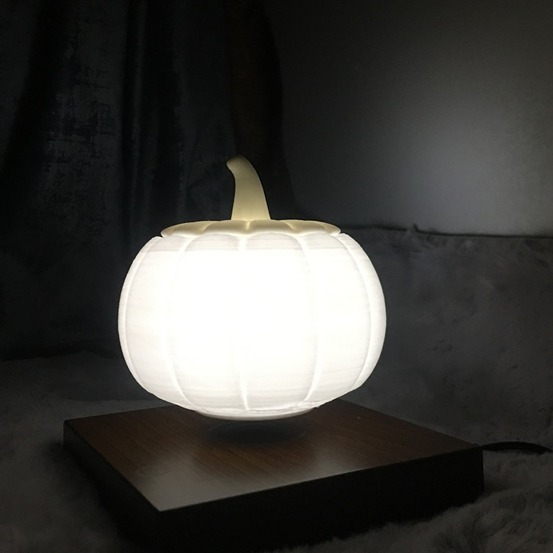 Magnetic Levitation 3D Pumpkin Light Tricolor Switch Wooden Base 12cm Night Light Floating New Year Party Decoration enlarge