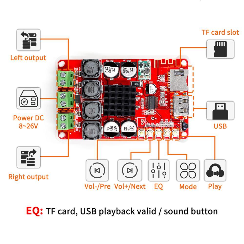 Receptor y Amplificador TPA3116 Bluetooth, tarjeta de Audio Digital, decodificador U Disk...