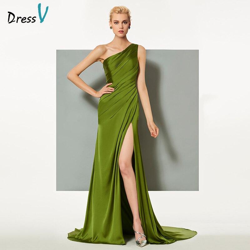 Платье с длинным рукавом Dressv, зеленое вечернее платье-футляр, с одним плечом, с раздельным передом, для свадебной вечеринки, формальное платье с колонной, вечернее платье es