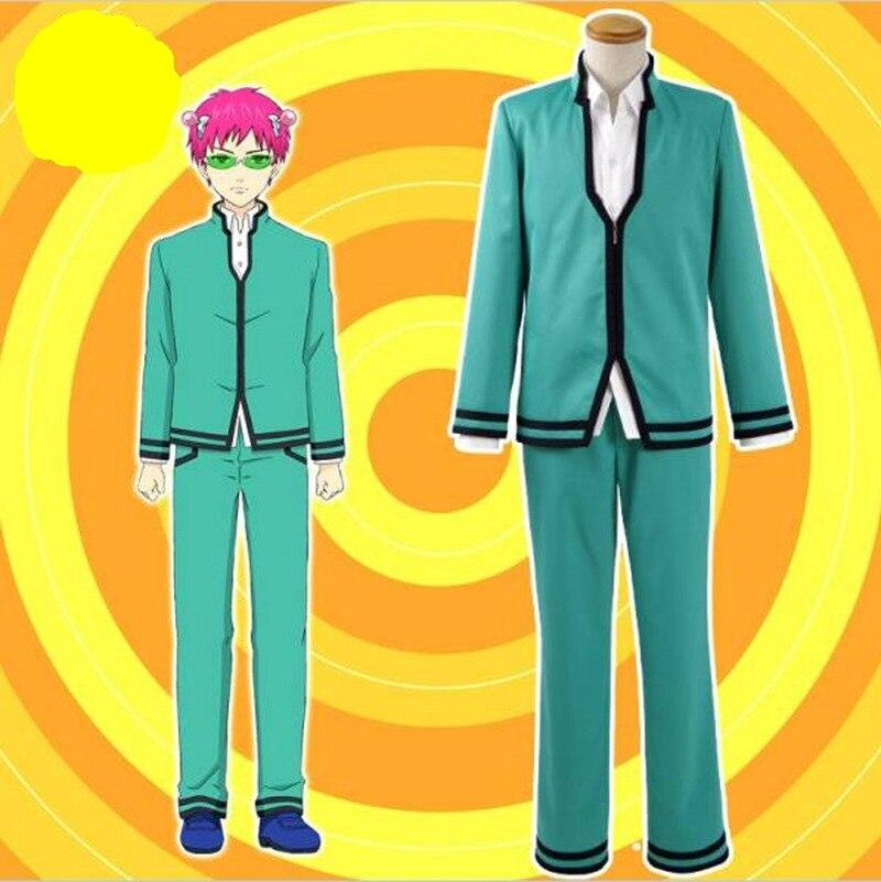 Amami Saiki Kusuo no sai-nan Saiki Kusuo Cosplay traje conjunto completo uniformes escolares para niños hombres Chaquetas Pantalones superior peluca Cosplay