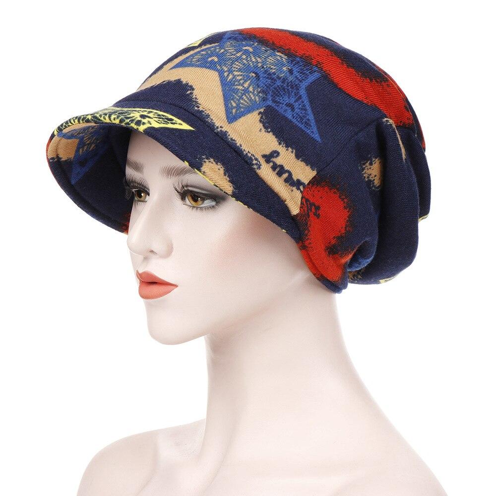Модные женские шляпы с широкими полями пуловер с короткими Цветочный принт мусульманский тюрбан шапка Женская выпадения волос химиотерапи...