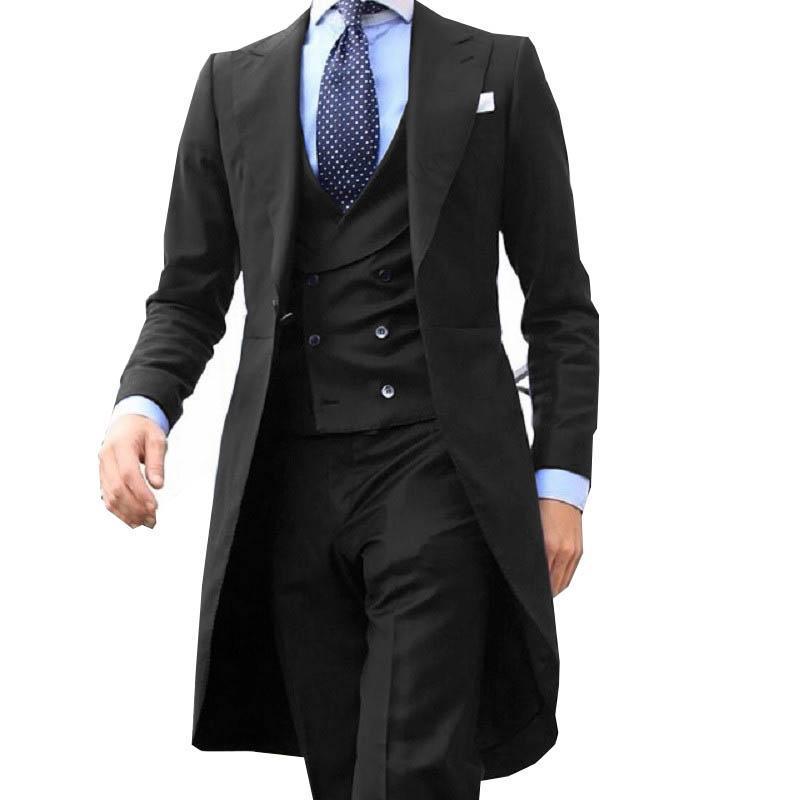 Новый черный мужской костюм, свадебные костюмы, официальный блейзер с воротником-шалью, приталенный костюм для мужчин, свадебная одежда для...