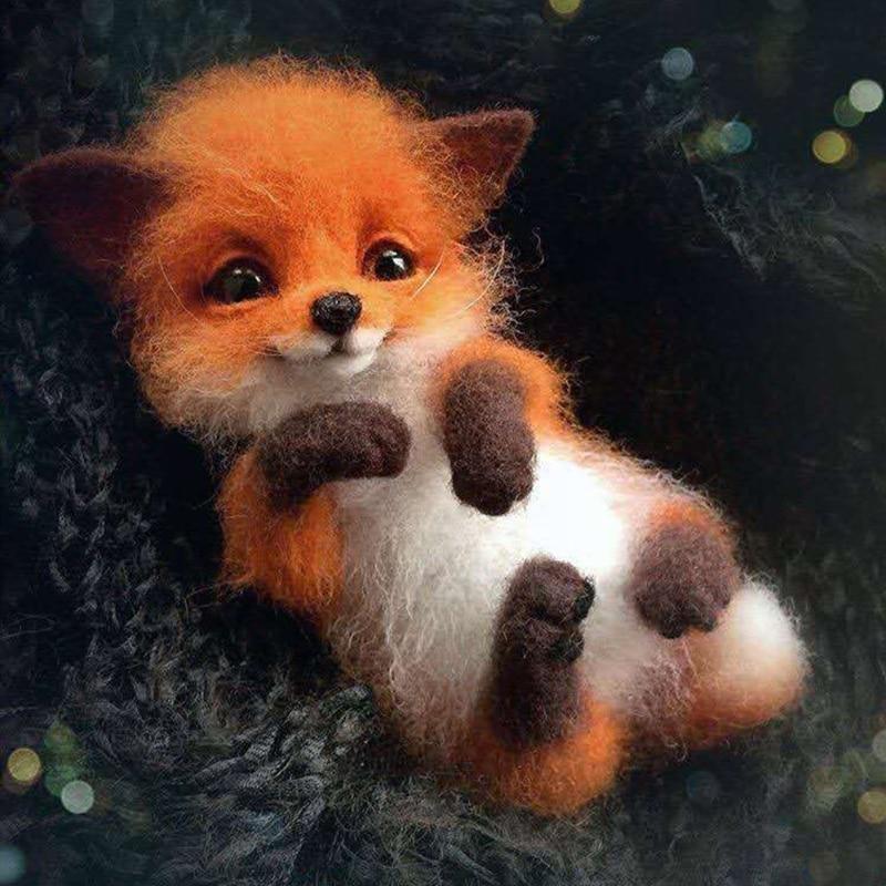 Wool Felt Poke Handmade DIY Material Kit Wool Needle Non Finished Cat Fox Raccoon Animal Brooch Plus