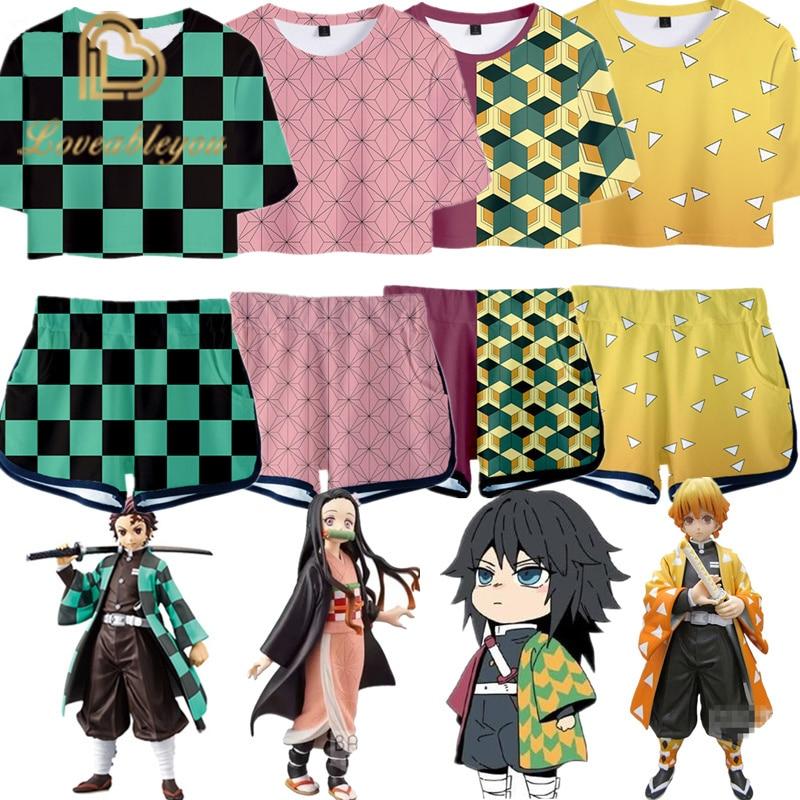 Outfit Demon Slayer Kimetsu No Yaiba Costume Women Top Shorts Sport Suits Kamado Nezuko Girls Running Shorts Set Cosplay
