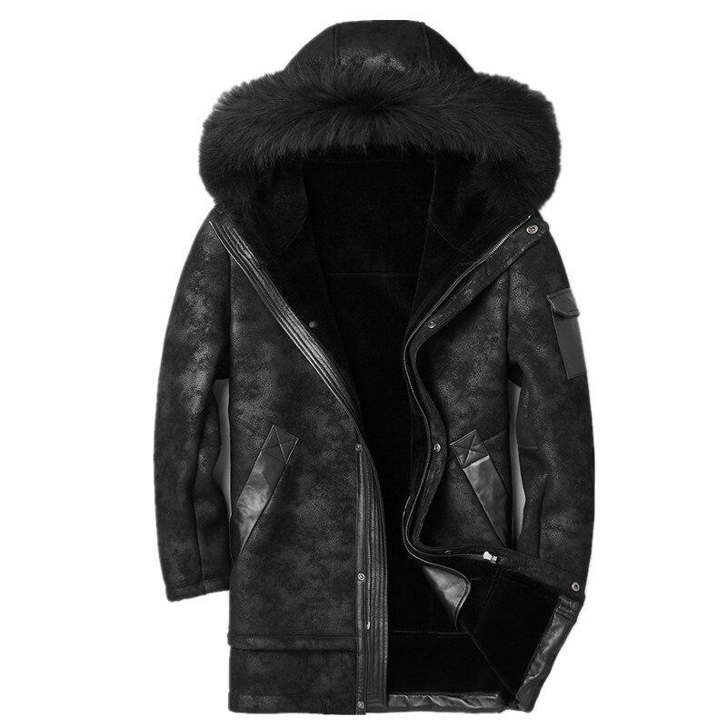 Genuine Leather Jacket Winter Jacket Men Raccoon Fur Collar Sheepskin Coat for Men Wool Fur Liner Warm Jacket F-CQ-1807 MY1808