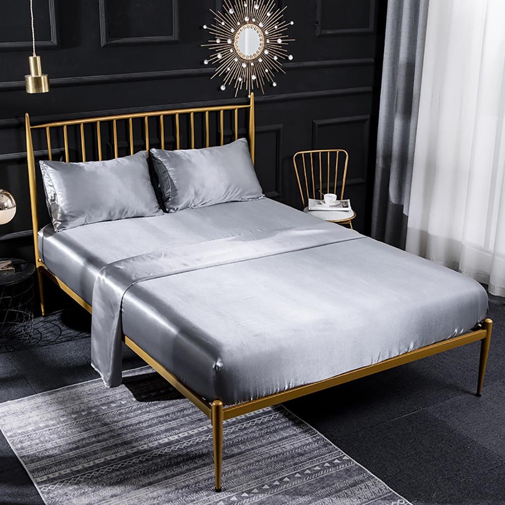ملاءة سرير من الحرير الصناعي الحقيقي من Lychee ، ملاءة ملونة مثبتة ، طقم مرتبة بأربعة زوايا وأشرطة مرنة