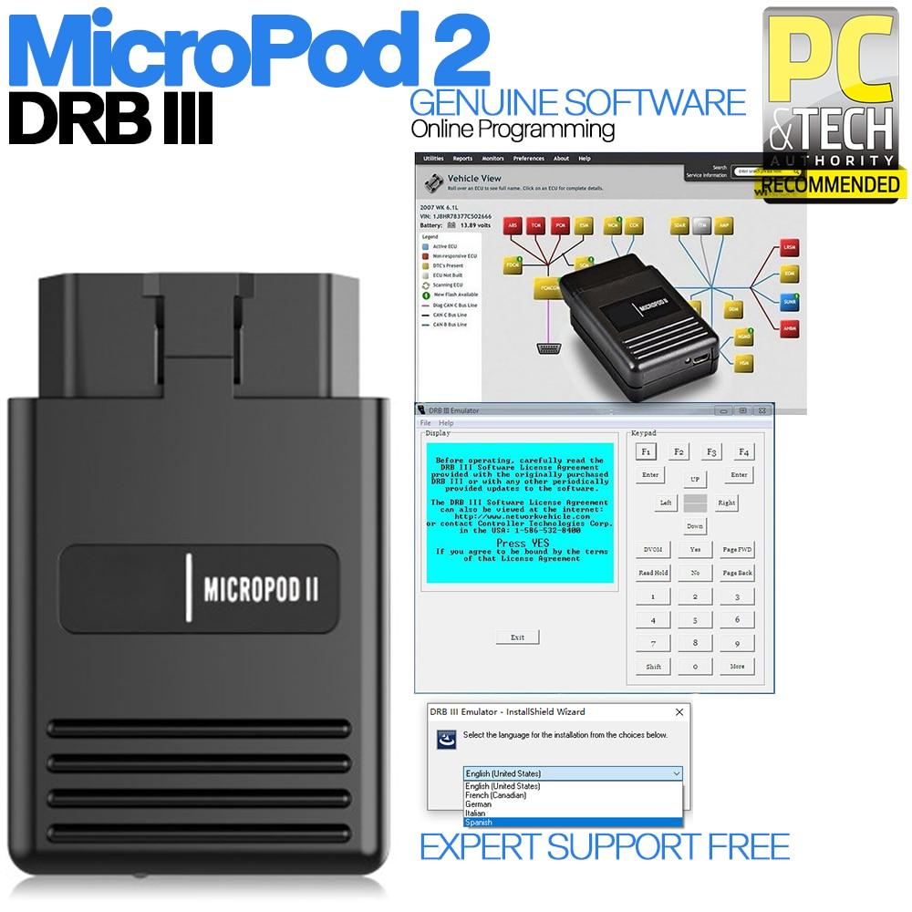 2020 V17.04.27 Multi-idiomas programación en línea MicroPod2 de diagnóstico profesional para Chrysler F iat Jee-p Dodg-e escanear DRBIII