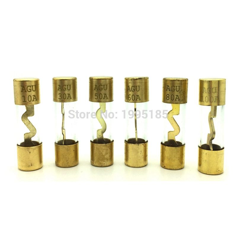 5 uds 10*38MM chapado en oro de cristal de AGU fusible fusibles paquete amplificador de audio del automóvil amplificador 10A 15A 20A 25A 30A 40A 50A 60A 70A 80A 100A coche fusible