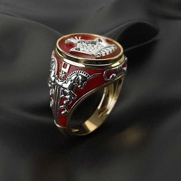 NPKDS Personalidade Criativa Rei Cavalo Ouro Two-tone Cavaleiro Anéis para Homens Hip Hop Estilo Punk Moda Anéis de Presente