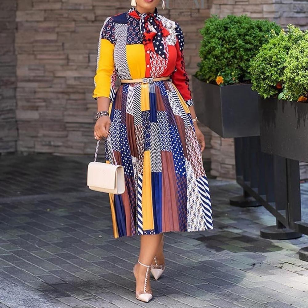 Women Dress Vestidos Casual Business Office Retro Pleated African Vintage Fashion Bow Collar Spring Plus Size Prom Dresses